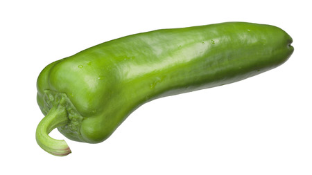 Dulce Italiano sweet green chili pepper, whole pod. Clipping paths