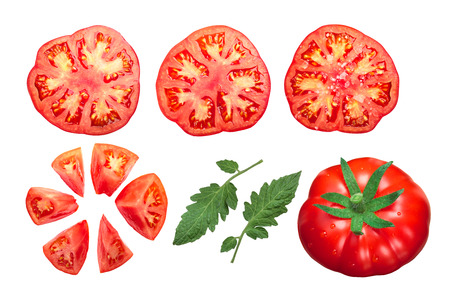 Pantano tomatoes (Solanum lycopersicum), whole, sliced, halved, chopped. Top view