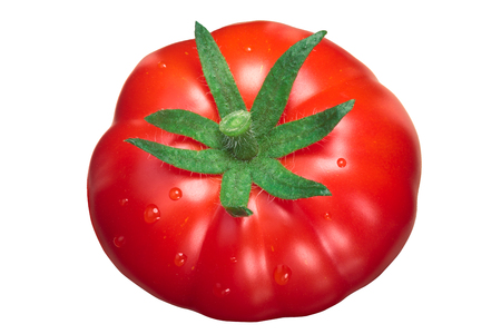 Pantano tomato (Solanum lycopersicum), whole, ripe, with sepal, slightly ribbed. Top view 版權商用圖片
