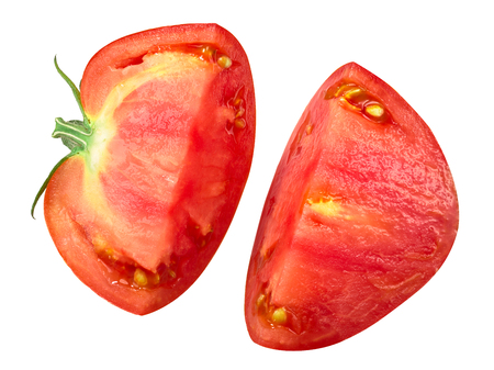 Oxheart Beef tomato half split in two chunks, top view