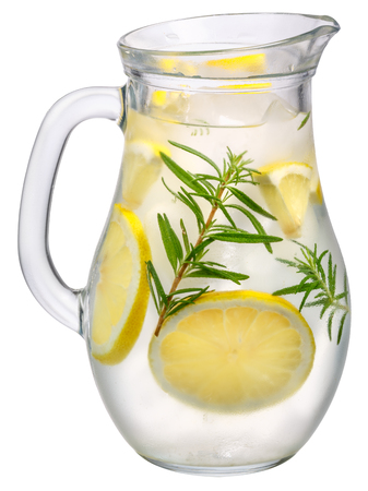 Jug of rosemary lemon detox water or lemonade