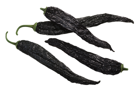 Pasilla bajio chili or chile negro, a dried Chilaca pepper, whole pods
