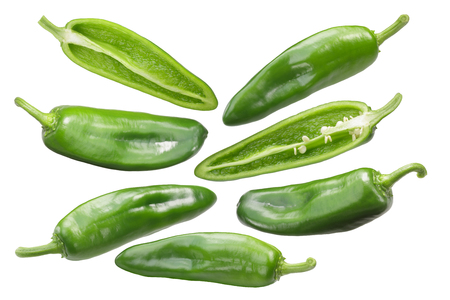 Anaheim chile peppers, whole and halved green pods (Capsicum annuum fruits) Stock Photo
