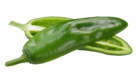 Anaheim chile pepper, green split pod (Capsicum annuum fruit)
