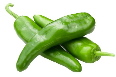 Joe E. Parker chile pepper, Numex or New Mexican pod type, unripe whole fruits (Capsicum annuum) Stockfoto