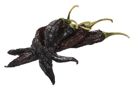 Pasilla bajio, a dried Chilaca peppers, or Chile Negro, single pods Stock fotó