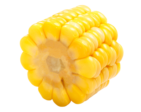 Piece of corn  (Zea mays) on cob (cut from maize ear) isolated 写真素材