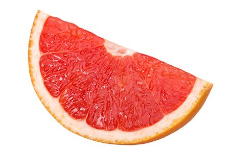 Grapefruit segement or slice isolated on white, shadowless