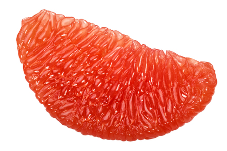 Grapefruit fleshy pulp segement isolated on white, shadowless