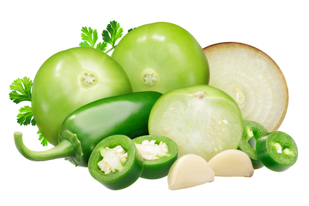 Ingredients for Salsa Verde sauce: tomatillos, onion, Jalapeno peppers and garlic, cilantro Stok Fotoğraf
