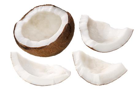 Coconut (Cocos nucifera), shelled,  kernel meat, cracked, irregular shaped