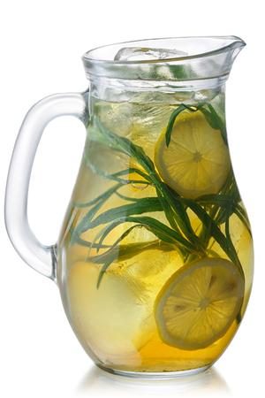 Pitcher of Iced Tarragon Lemonade, isolated