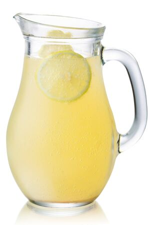 Lemonade pitcher with lemon wheel, isolated