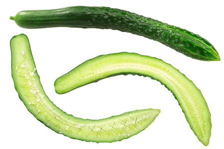 Long cucumbers (Cucumis sativus fruits), whole, halved and salted, isolated Zdjęcie Seryjne