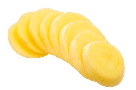 Potato (Solanum tuberosum) tuber, sliced, isolated Zdjęcie Seryjne