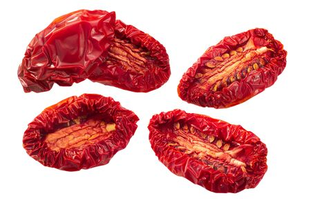 Sun dried or dried plum tomato halves, isolated