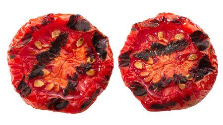 Grilled roasted globe tomato halves, isolated