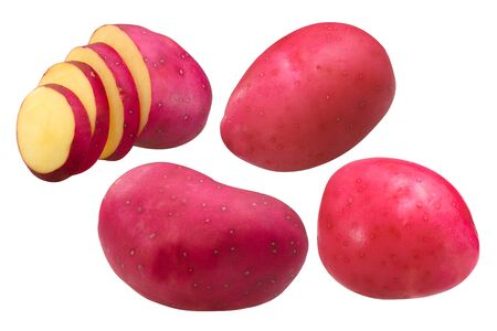 Red Potatoes (Solanum tuberosum tubers), whole and partially sliced, isolated Zdjęcie Seryjne