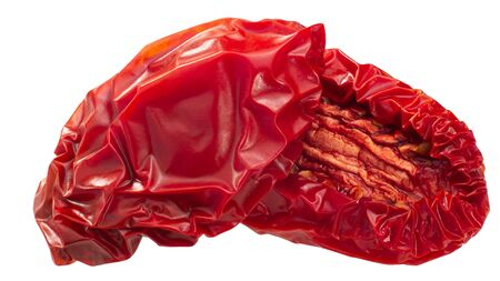 Sundried or dried plum tomato halves, isolated
