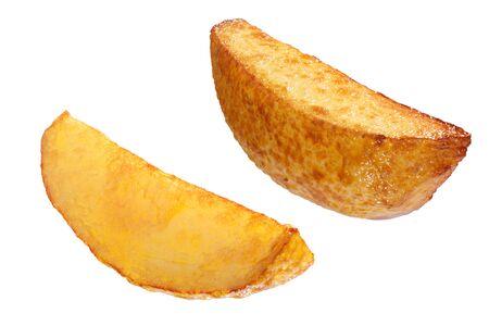 Potato wedges. Quartered fried potatoes or potato chips