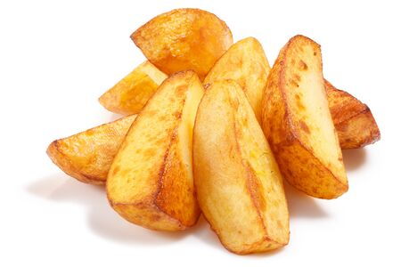 Potato wedges. Pile of quartered baked fried potatoes or potato chips