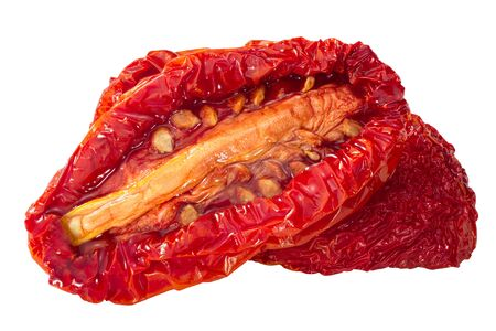 Semi-dried oiled tomato halves, isolated