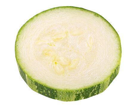 Zucchini or courgette slice (Cucurbita pepo), isolated