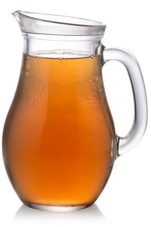 Glass pitcher of Kombucha, a fermented tea mushroom drink, isolated Zdjęcie Seryjne