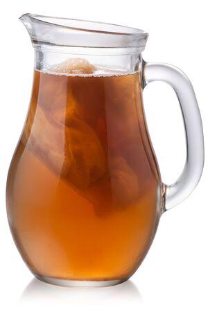Glass pitcher of Kombucha, a fermented tea mushroom drink, with culture inside, isolated Zdjęcie Seryjne