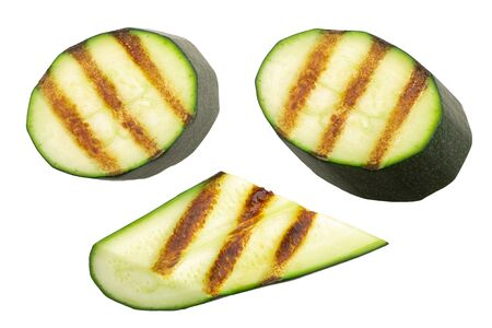 Grilled zucchini or courgette slices, isolated