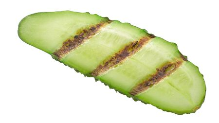 Grilled cucumber or gherkin slice, isolated