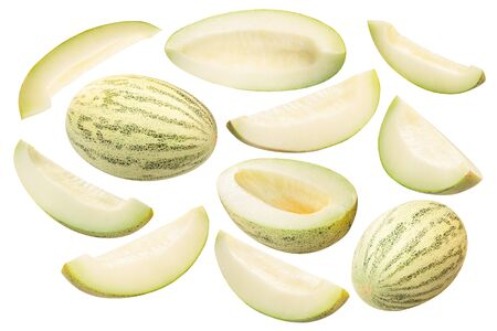 Muskmelon (Cucumis melo pepo fruit), whole, scooped out halves and slices, isolated Zdjęcie Seryjne