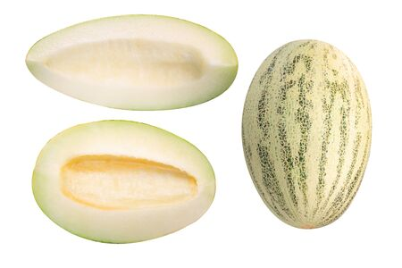 Muskmelon (Cucumis melo pepo fruit), whole, scooped out half and slice, isolated, top view Zdjęcie Seryjne
