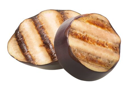 Grilled aubergine slices with grill streaks, isolated