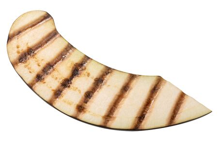 Grilled aubergine slice with grill streaks, isolated, top view