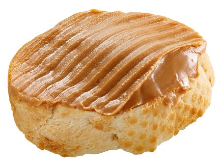 Peanut buttered bread or baguette slice, isolated