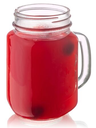 Cherry kissel, a viscous drink in a mason jar, isolated