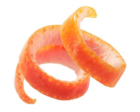 Grapefruit twist, rolled up zest or curled peel, isolated