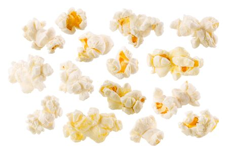 Butterfly or snowflake popcorn, an irregular shaped puffed corn kernels, isolated, a set of Stock Photo
