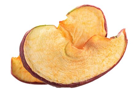 Red apple chips or drie baked crisps, isolated