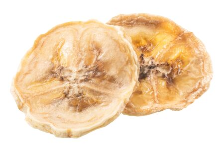 Banana chips, a round baked, dried or sun-dried crisp pieces isolated