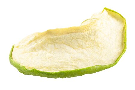 Green apple chip or dried baked crisp, isolated