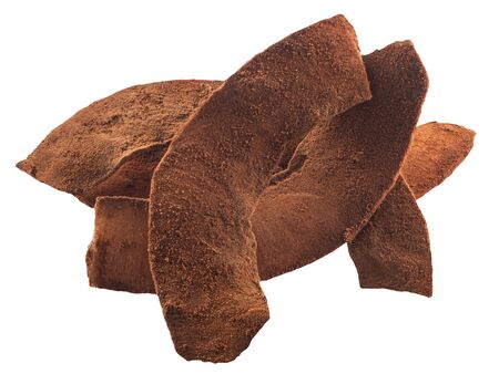 Chocolate coated Coconut chips or dried flakes of kernel meat covered with cocoa, isolated