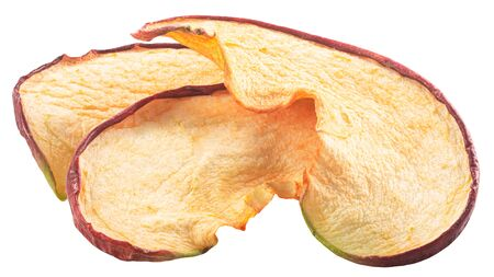 Red apple chips or dried baked crisps, isolated