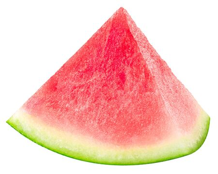 Watermelon piece or sector (cut from Citrullus lanatus slice), isolated