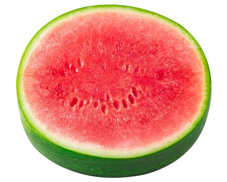 Watermelon round slice (cut from Citrullus lanatus), isolated