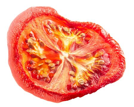 Dried or sundried thin tomato slice or chip, isolated Banque d'images