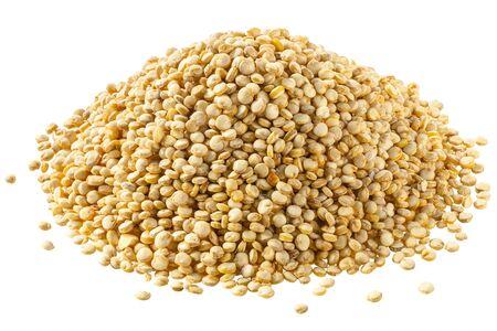Pile of quinoa, an edible seeds of Chenopodium quinoa, isolated