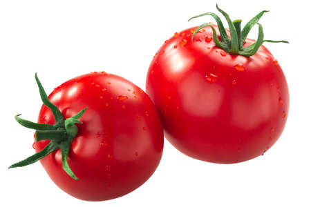 Kecskemeti Jubileum tomatoes, a Hungarian heirlooms, isolated Stock Photo