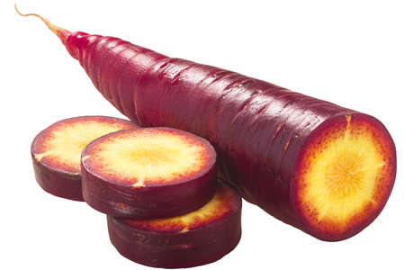 Purple Haze carrot (Daucus carota var. sativus), partially sliced, isolated